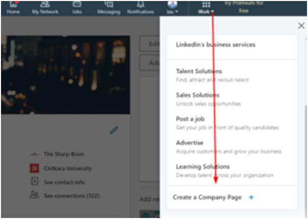 公司頁面上LinkedIn