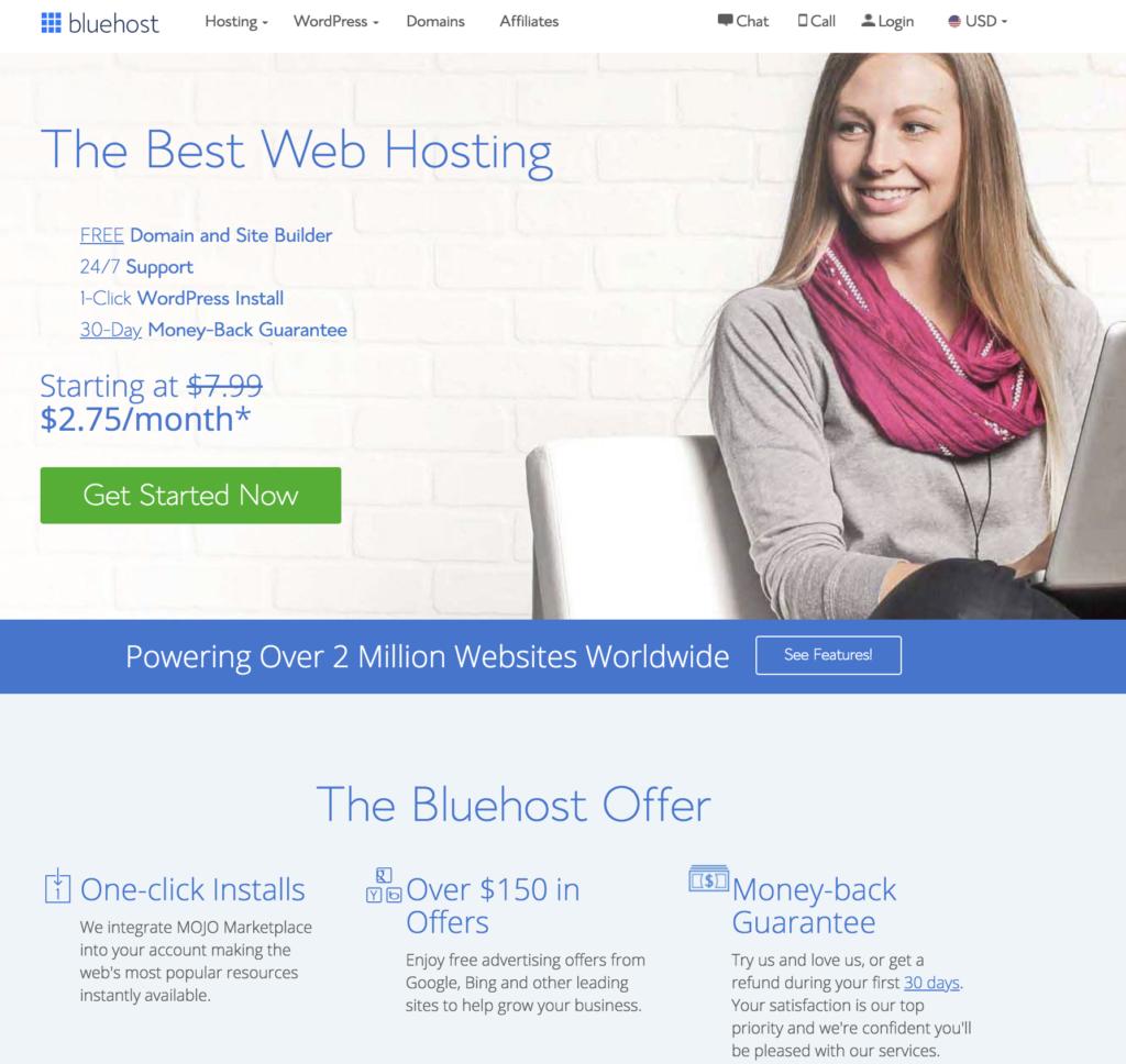Bluehost的主頁