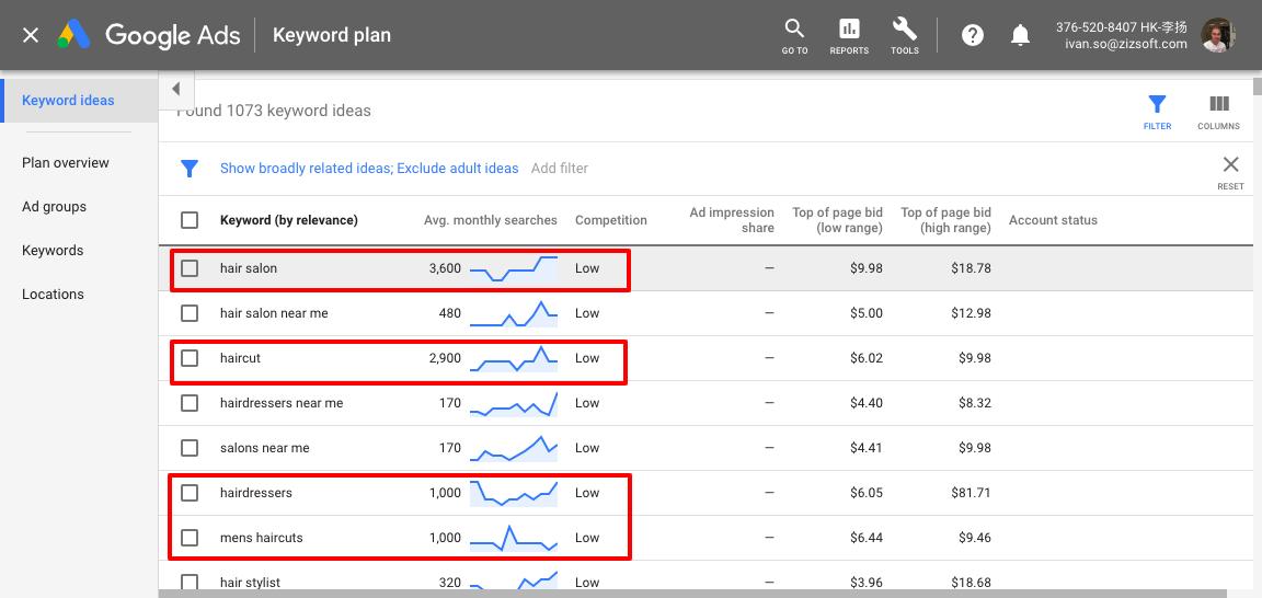 谷歌广告关键字规划师发廊