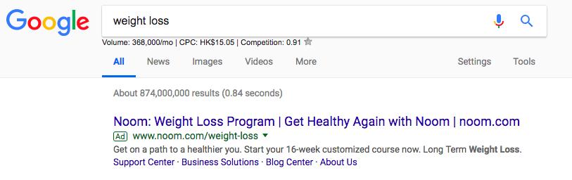 减肥Google搜索结果为seo