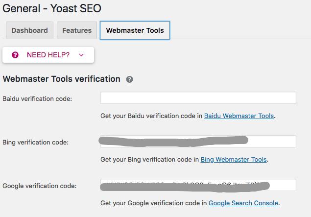 yoast seo网站管理员工具设置