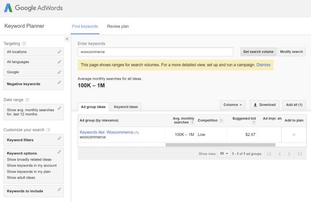 Google关键字规划师seo工具搜索结果