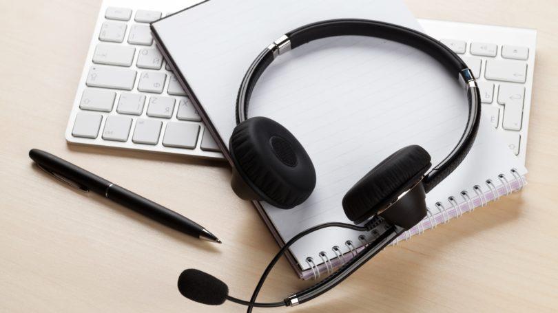 Call Center Headphones Notepad Pen Keyboard