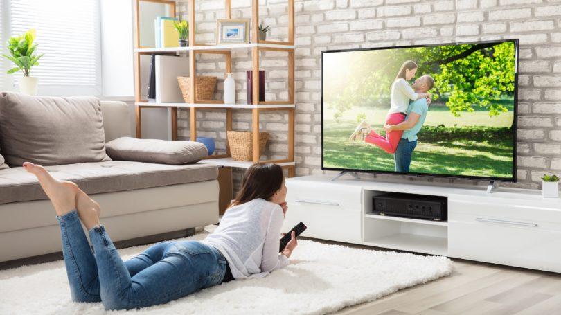 Watching Tv Living Room Woman Rug